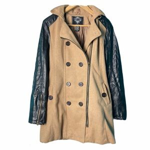 Discovery Faux Leather Sleeve Trench Coat, size L